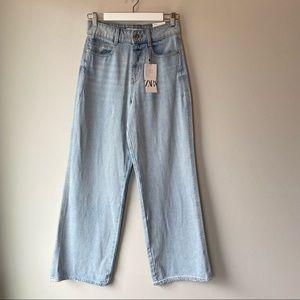 Zara Super High Rise Wide Leg Rigid Jeans NWT Light Wash 4